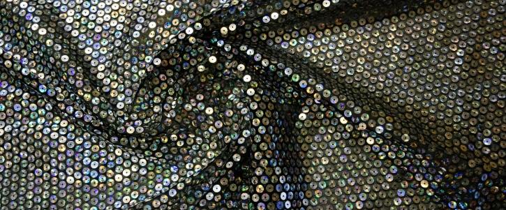 Coupon Silberpailletten auf schwarz