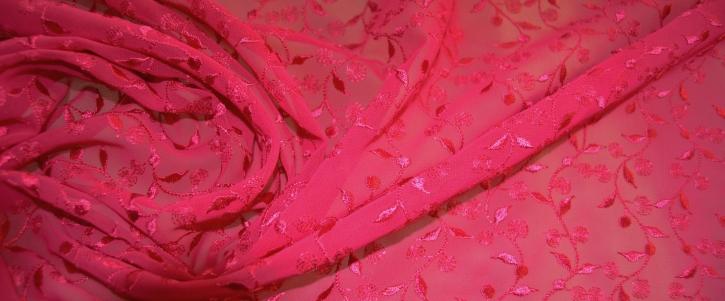 bestickte Viskose - pink