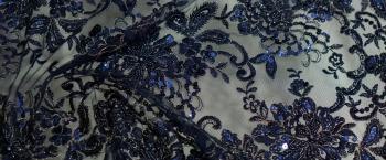 bestickte Spitze - nachtblau mit gold