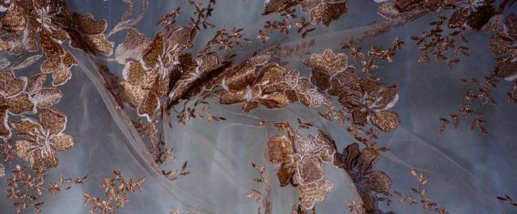 florale Tüllspitze - bronze