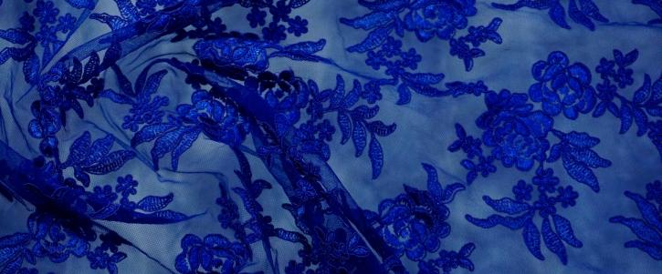 florale Gimpenspitze - königsblau