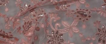 Gimpenspitze mit Minipailletten - rosa