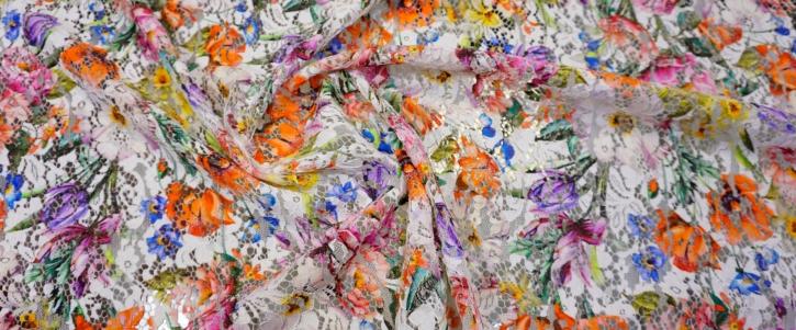 Rest, Gimpenspitze mit Blumen-Print