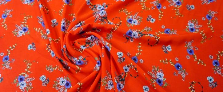 Viskose - Blüten auf rot