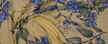 Viskosejacquard - gelbgrün mit Blumen