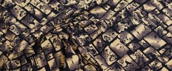 Viskosejersey - dunkelblau mit creme
