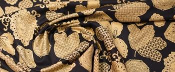Viskose - schwarz-beige mit gold