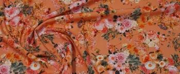 Viskose - Blumen auf lachs