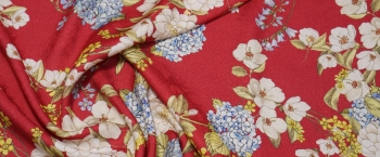 Viskosejacquard - Blumen auf rot