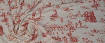 Viskosejacquard - weiß mit rot