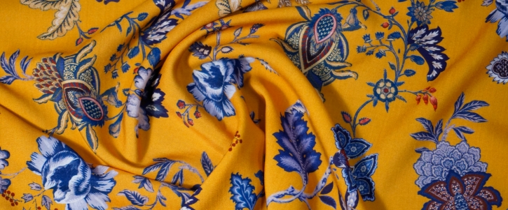 Viskose - gelb mit Blumen