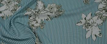 Viskose - Streifen mit floralem Umriss