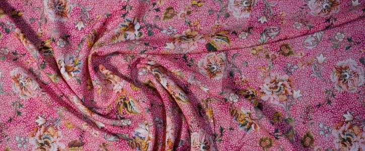 weiche Viskose - Pink mit Punkten und Blumen