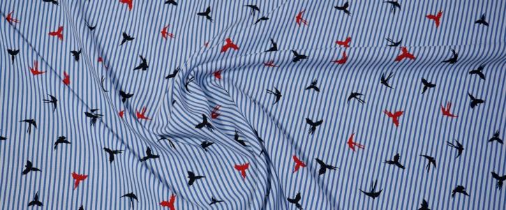 Viskose - Vögel auf Streifen