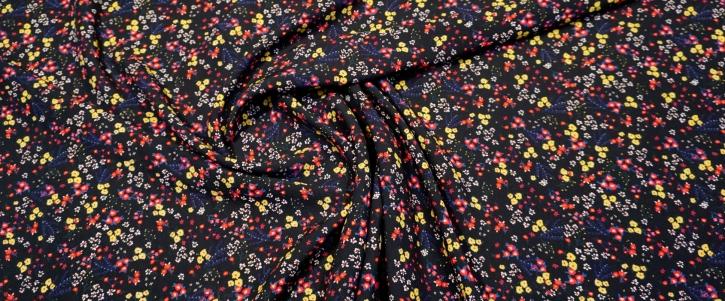 Viskose - Blümchen auf schwarz