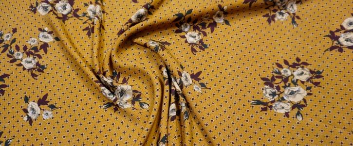 Viskose - Blumen auf curry