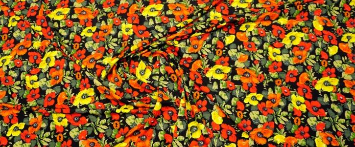 Slinky Jersey - Blumen auf schwarz