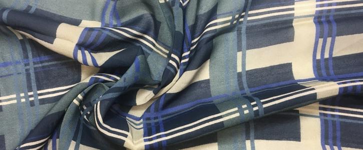 Viskosestretch - Karo, blau- beige