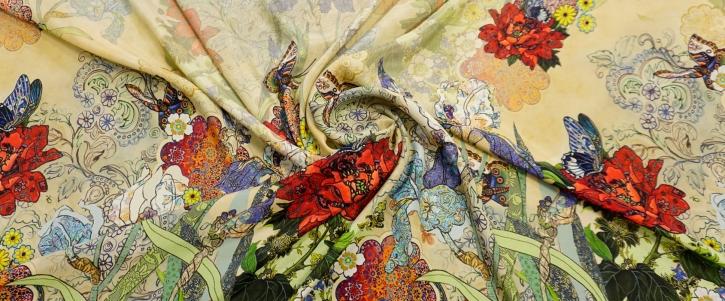 Rapport, Viskose mit Seide - Blumen