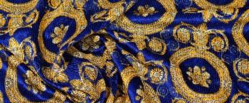 Seidensamt - königsblau/gold