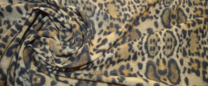 Viskose-Schurwollmischung - animal print