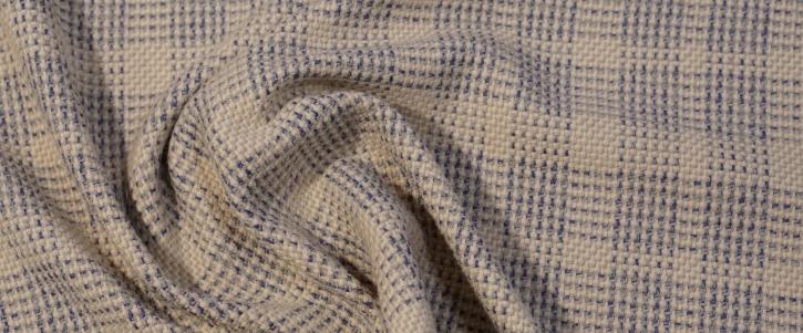 schwere Viskose mit Schurwolle - beige/blau