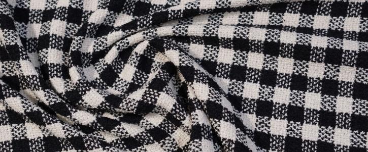 Viskose mit Schurwolle - schwarz/weiß