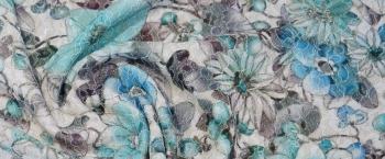 Jersey mit Spitze - türkise Blumen