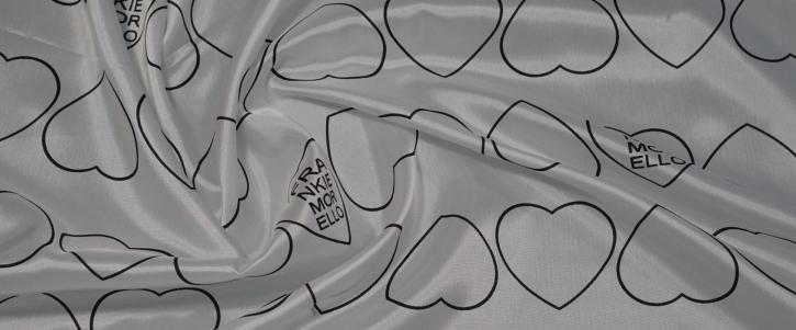 Viskosefutter - schwarze Herzen