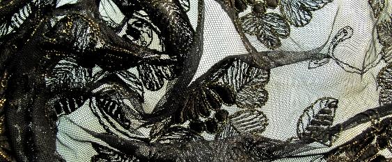Tüllspitze - schwarz mit gold