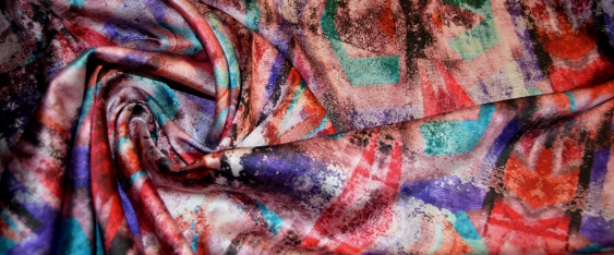 Satin in Stretchqualität - Batik