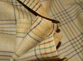 Schurwolle - buntes Karo auf beige