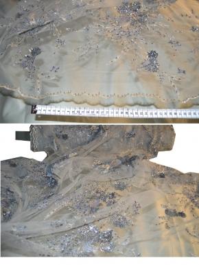 Spitze - lichtgrau mit Silberperlchen