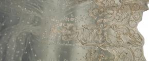 französische Tüllspitze - ecru mit silber