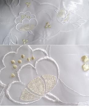 bestickter Chiffon - beige/weiß