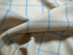 Schurwolle beige - Karo in bleu