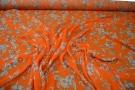 Seide - Floralmotiv auf orange