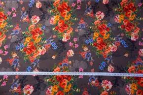 Crepe - Blumen auf basaltgrau