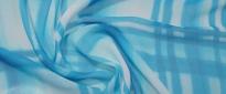 Seidenchiffon - weiß mit blau