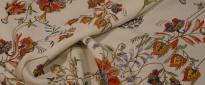 Schurwoll-Viskose - Blumen auf weiß