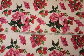Seidenstretch - rote Blumen
