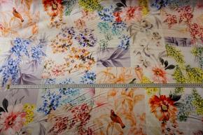 Seidenstretch - Blüten und Vögel
