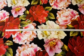 Seidenstretch - Blüten auf schwarz