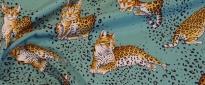 Seidenstretch - Katzen auf türkis