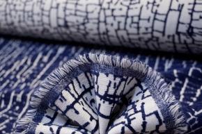 Chenille - weiß mit blau