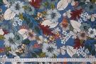 Rest Leinen - Blumen auf blau