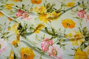Schurwolle mit Seide - Blumen