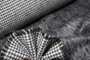Doppelseitige Schurwollmischung - schwarz/weiß