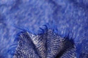 Schurwollmischung - blau/weiß
