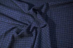 Schurwolle mit Polyamid - blau/schwarz